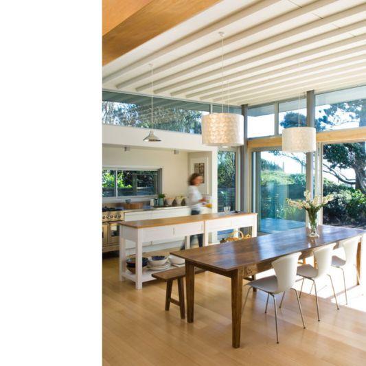 cozy dining room with beautiful beach panoramic in raumati beach