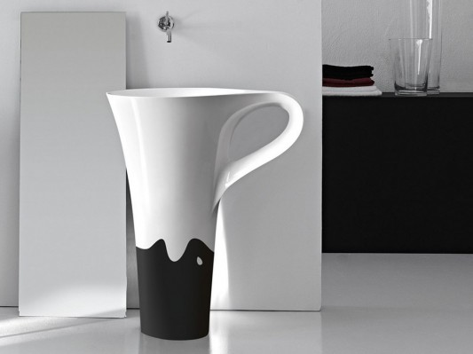 cup bathroom freestanding basin in two tone