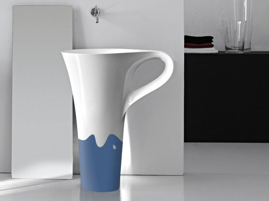 cup two tone freestanding basin design