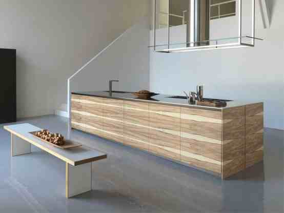 design of modern large wooden kitchen concept