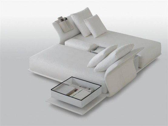 double bed with head back from modular sofa