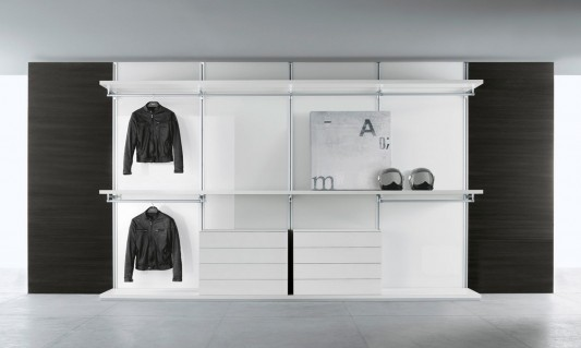 dress bold minimalist and practical walk-in closet system