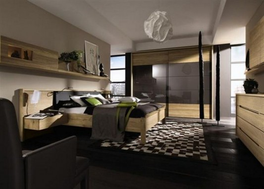 elegant and dynamic bedroom interior with solid wood furniture