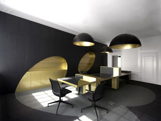 elegant black and gold office interior design