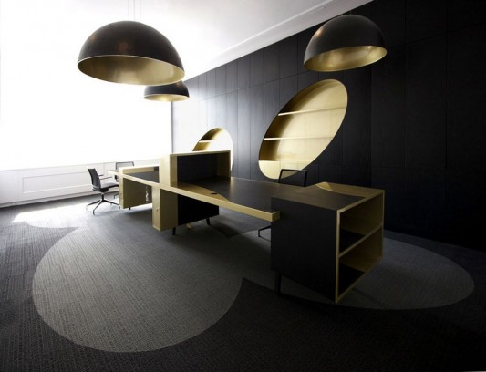 elegant contemporary office design with black and gold color