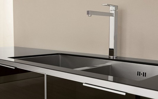 elegant kitchen washbasin with stainless steel frame
