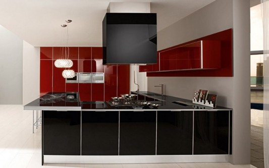 elegant maroon and black lacquered glass kitchen