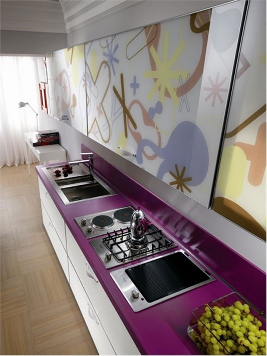 elegant violet kitchen stove and basin