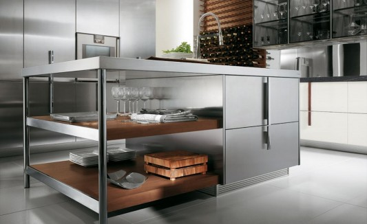 Contemporary Italian Kitchen Decorating With Extra Cabinet Barrique By Ernestomeda Home