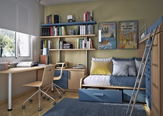 fresh and cool modern kids study room