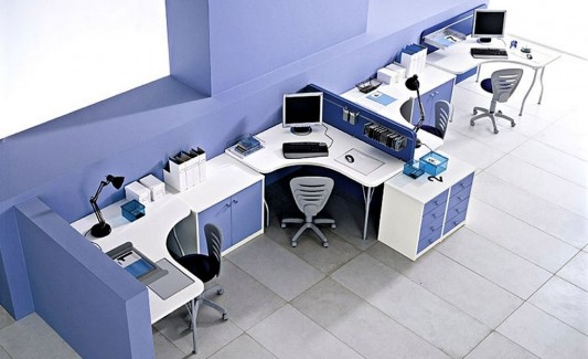 fresh modern office decorating ideas with colorful furniture