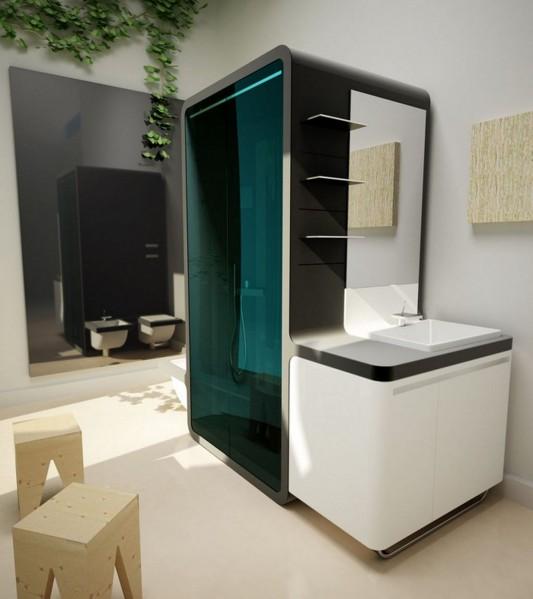 futuristic bathroom shower box compact design