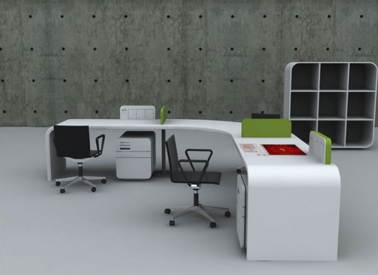 futuristic office desk concept. Furniture ...