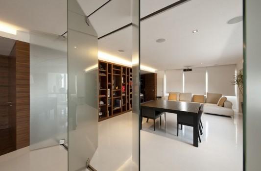 glass folding door open apartment interior decoration