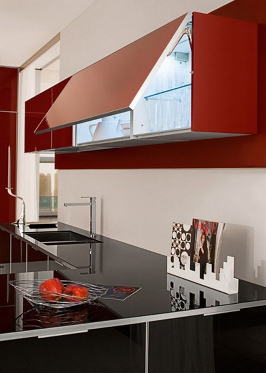 glossy lacquered glass cabinet design