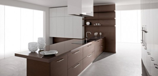 glossy white and brown modern kitchen design ideas