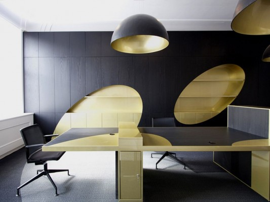 gold and black contrast color office interior