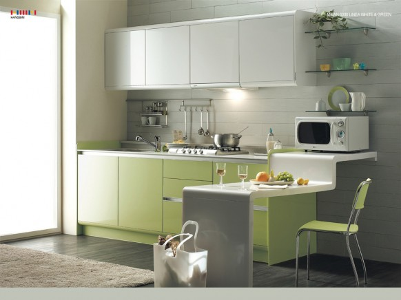 green white kitchen room concept design