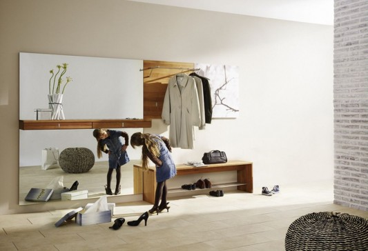 hanging dresser simple and modern design with mirror and bench