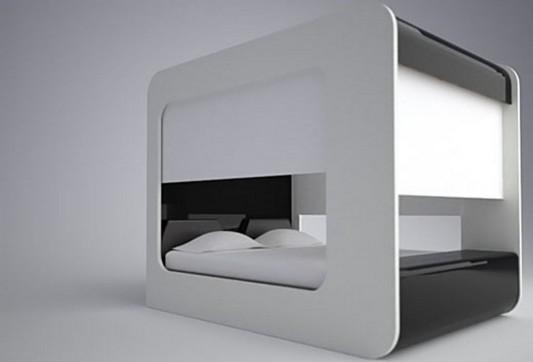 high fidelity canopy bed futuristic design by Edoardo Carlino