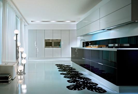 Glossy And Natural Oak Matte Laminate Dry Kitchen Modern Design Q2