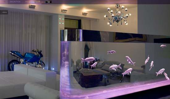 home decoration with aquarium