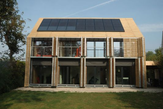houses with photovoltaic panels on the roof