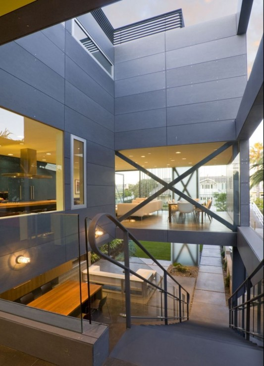 hover house creative interior design with concrete wall