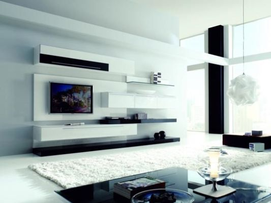 Living Room Decoration With Modern Wall Unit Boss By