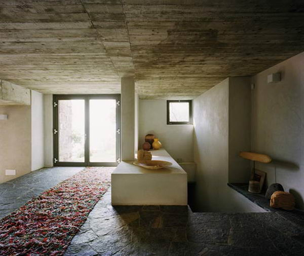 interior on loft area of stone house