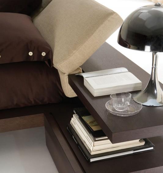Italian Minimalist platform bed with reclinable headboard