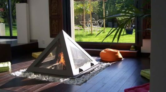 kephren pyramid fireplace design with wooden floor