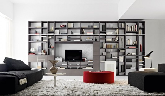 Large Bookshelves Design For Living Room And Library