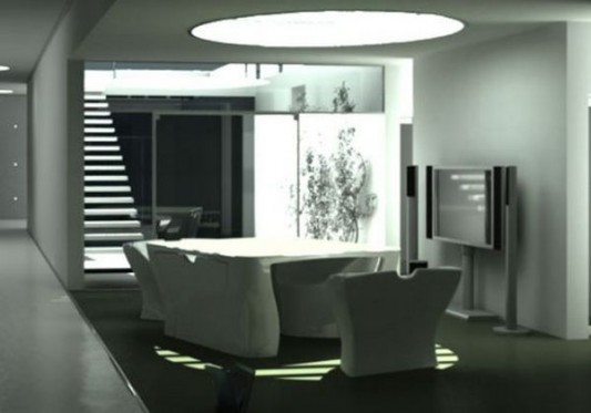living room concept with modern compact furniture design