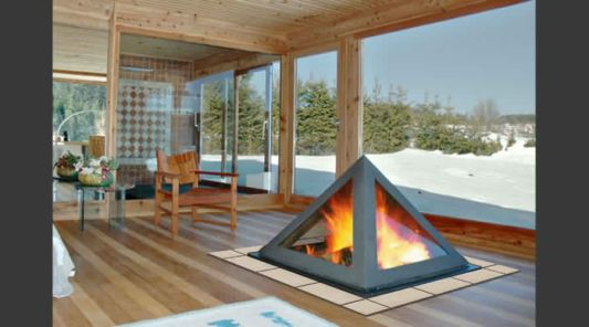 lounge room with pyramid fireplace