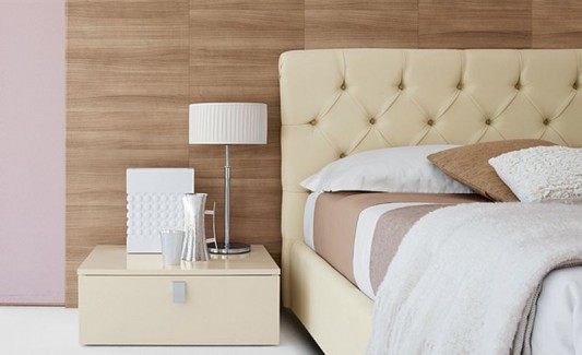 luxurious leather bed with stylish and minimalist side table