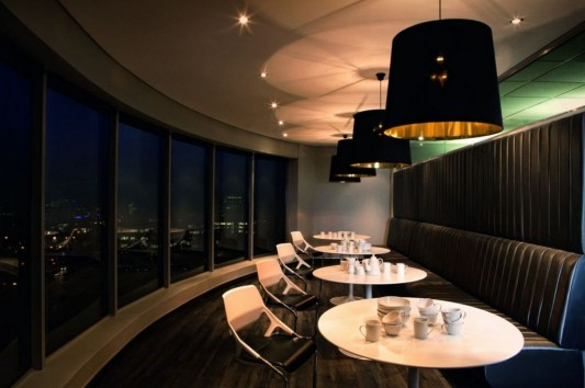 luxurious office lounge interior with beautiful panoramic