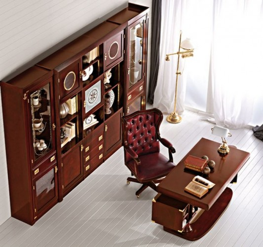 luxurious traditional study room and home office furniture design