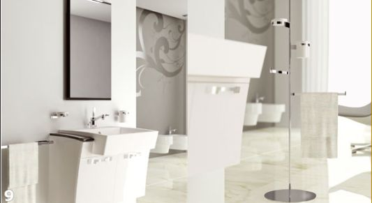 luxurious white bathroom furnishings