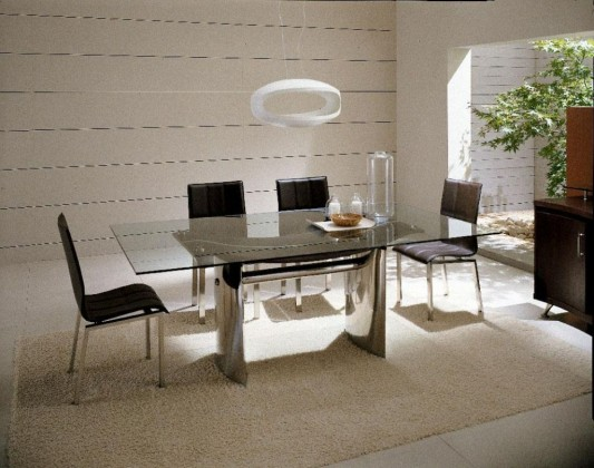 Luxury Italian Dining Set Furniture Waves Collection Modern