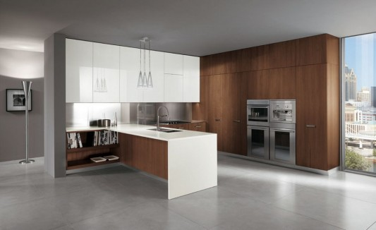 Contemporary Italian Kitchen Decorating with Extra Cabinet ...