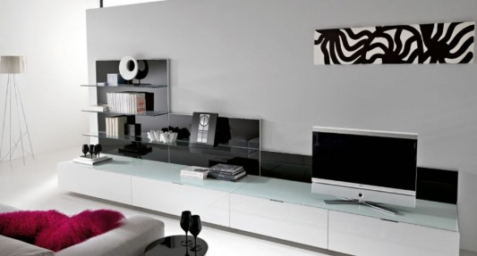 Black and White Minimalist Living Room TV Cabinet, by ...