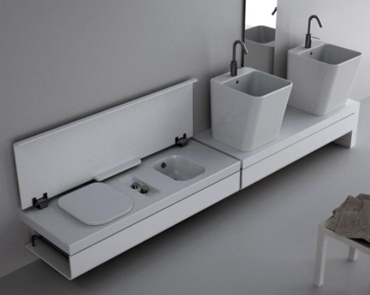 minimalist bathroom decor with compact furniture