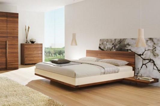 minimalist solid walnut bed riletto by team7
