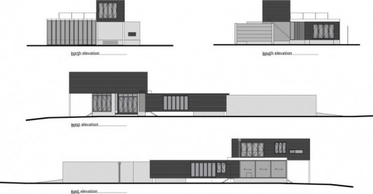minimalist house in black and white design plans
