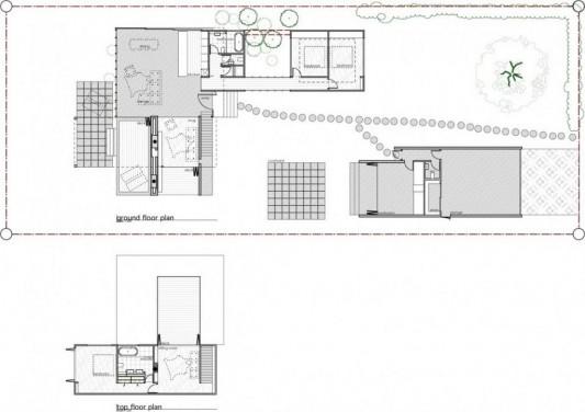 minimalist house in black and white floor plan design