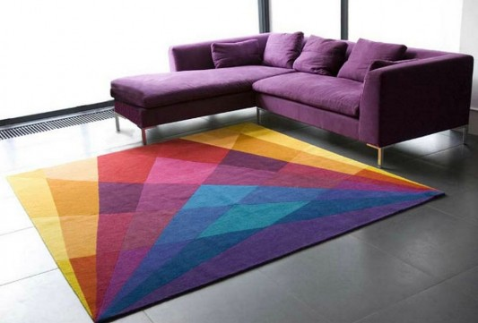 minimalist living room with colored inspirational rugs