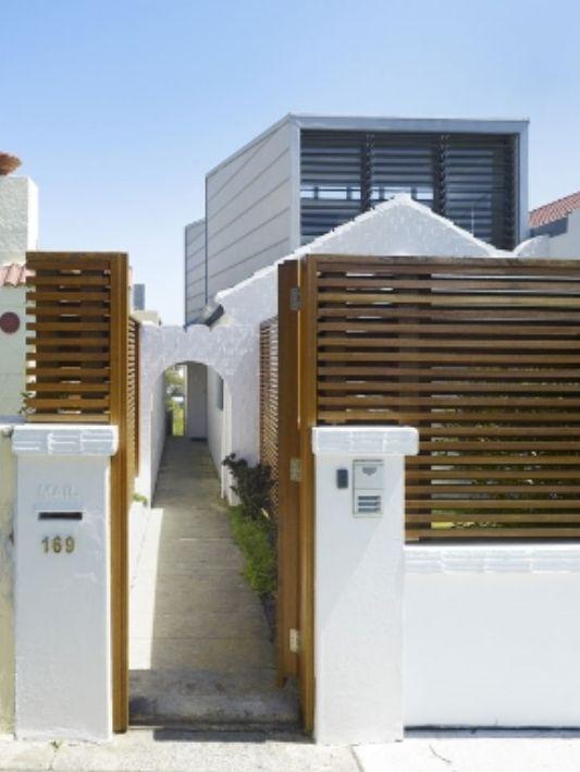 minimalist modern wooden fence
