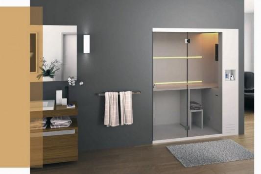 minimalist shower box with sauna and steam bath function