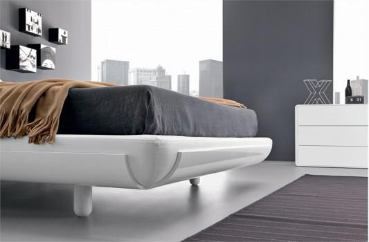 minimalist wooden bed design with round corner design